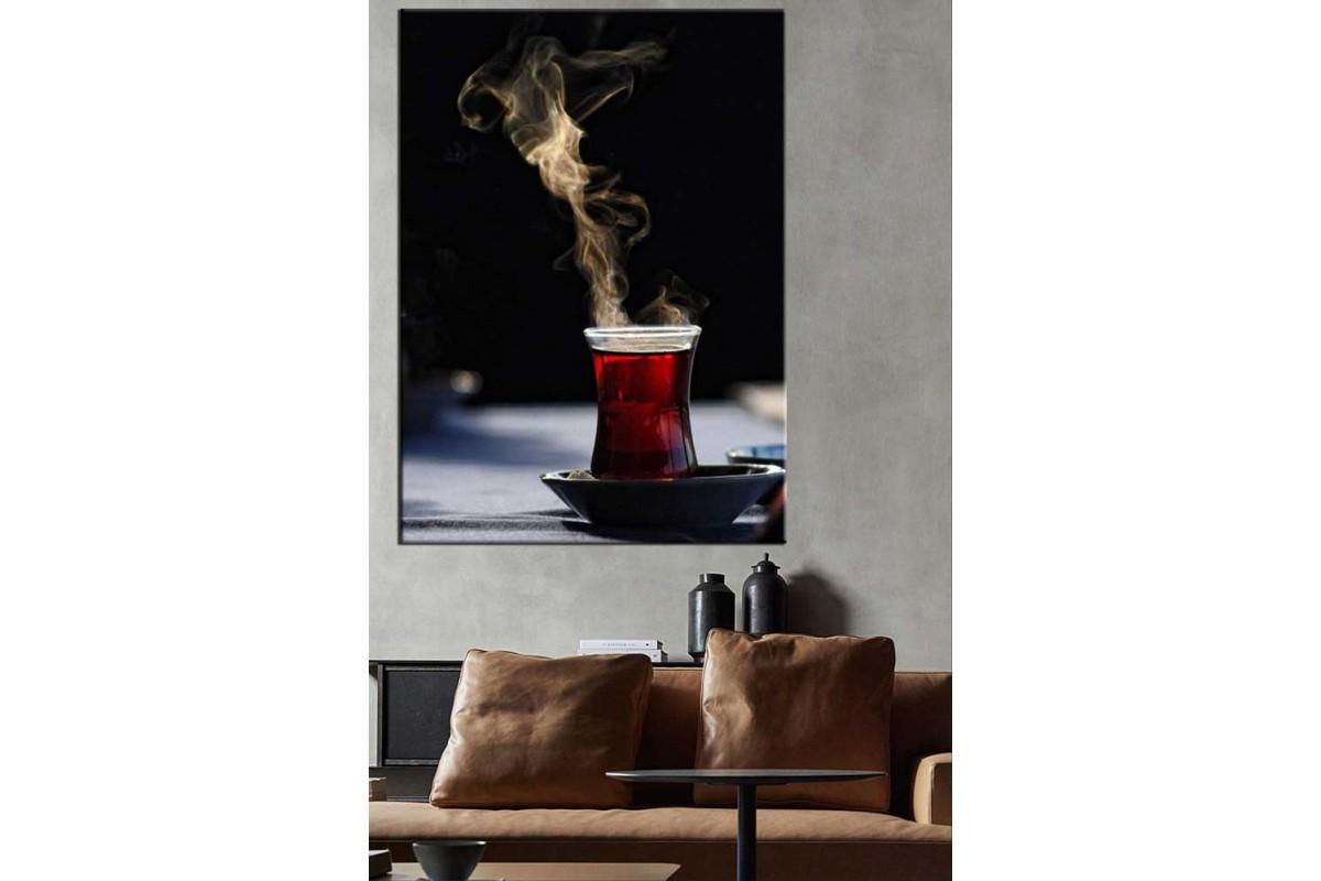 Tek Bardak Çay Kahvehane Kıraathane Çay Evi Kanvas Tablo dkmr201