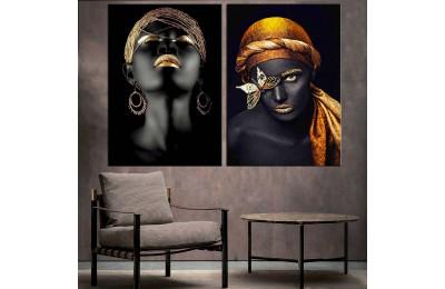 Afrikalı Kadın Altın Renk İkili Konsept Kanvas Tablo zck1-9
