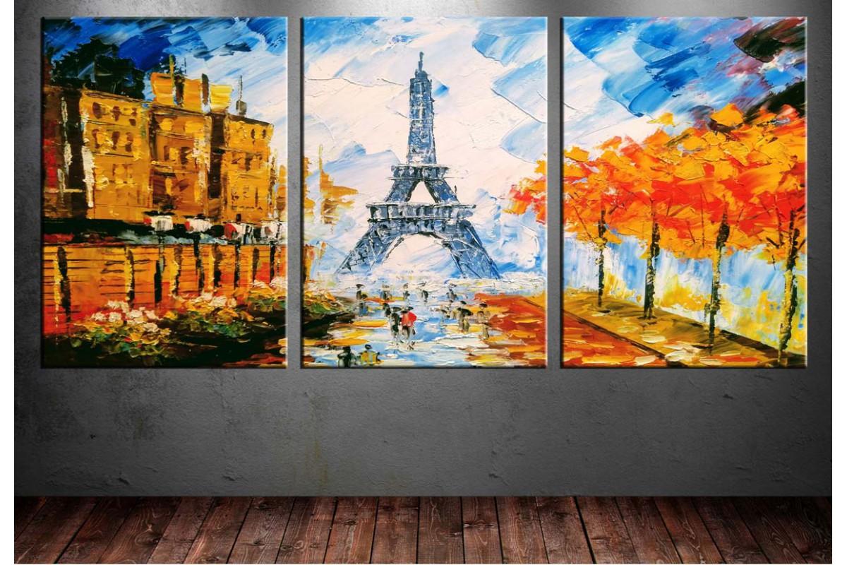 Paris Eyfel Kulesi Yağlı Boya Görünüm 3 Parça Tablo dkm-k8
