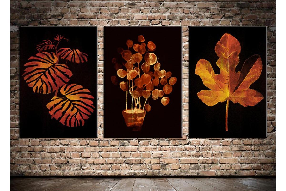 Yapraklar Altın ve Siyah Üçlü Kanvas Tablo 3pdkm-k70a