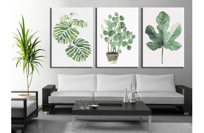 Yapraklar Yeşil ve Beyaz Üçlü Kanvas Tablo 3pdkm-k70b