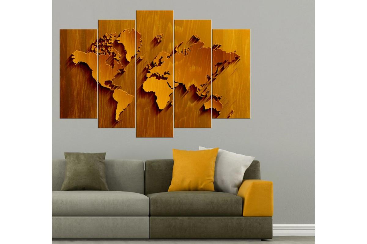 Dünya Haritası Tablosu 5 Parçalı Açık Kahverengi dkmr197