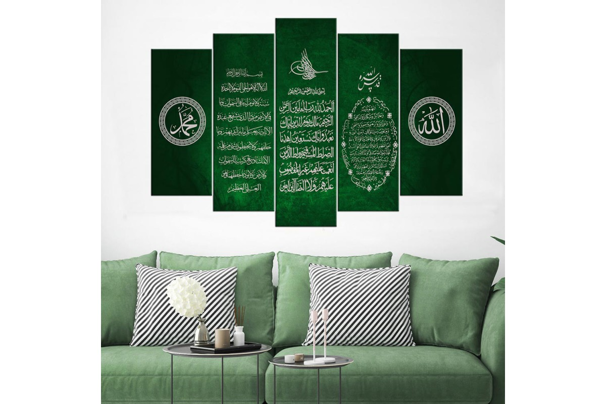 Bereket Duası Ayetel Kürsi Fatiha Yeşil 5 Parça Tablo dkm-k65-1