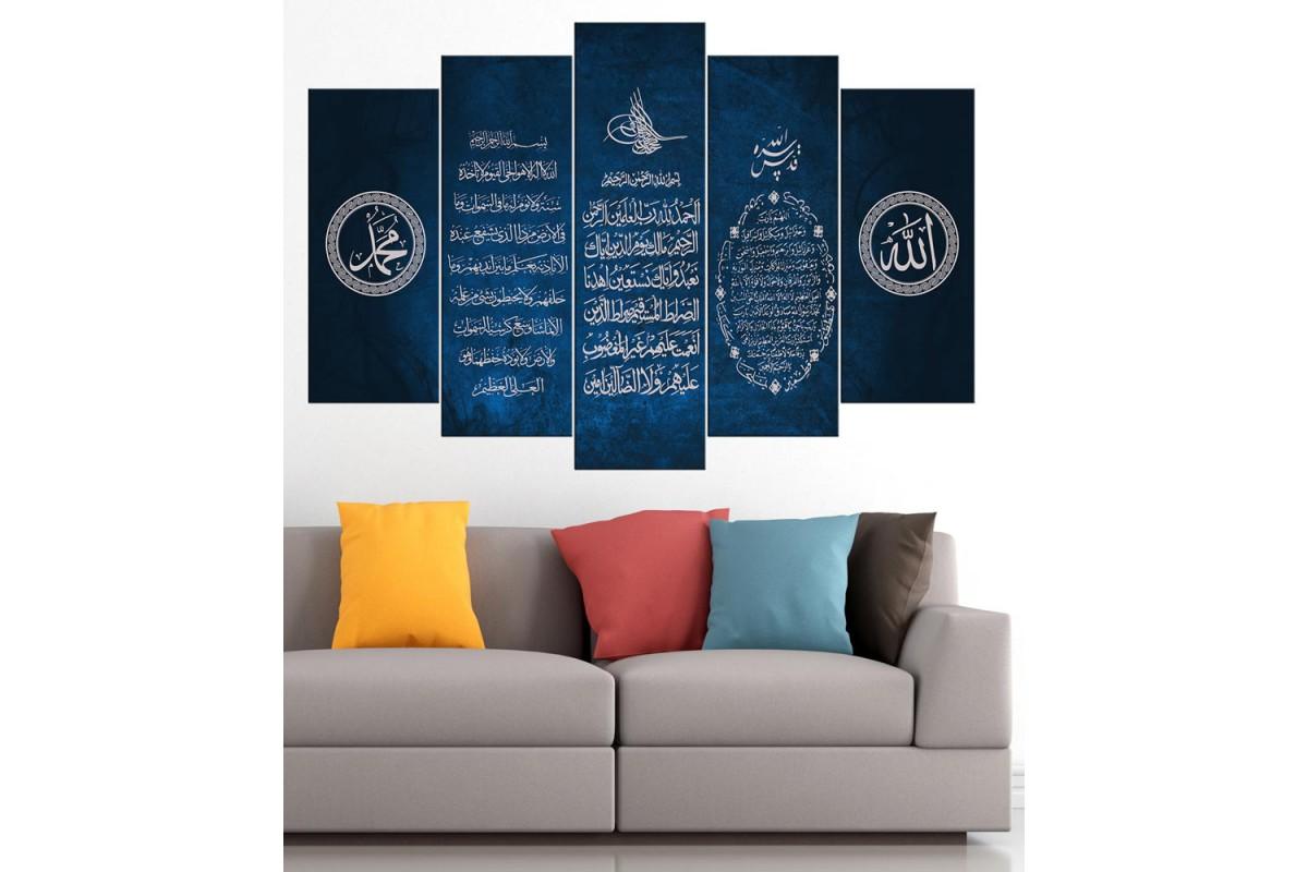 Bereket Duası Ayetel Kürsi Fatiha Mavi 5 Parça Tablo dkm-k65-6