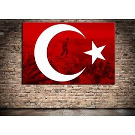 Atatürk Kocatepe ve Bayrak Özel Tasarım Kanvas Tablo ata246