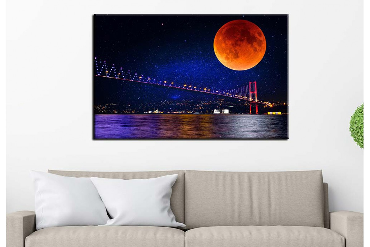 Masal İstanbul Boğaz Köprüsü Masalsı Gece İstanbul Tablosu dkm-75-1B