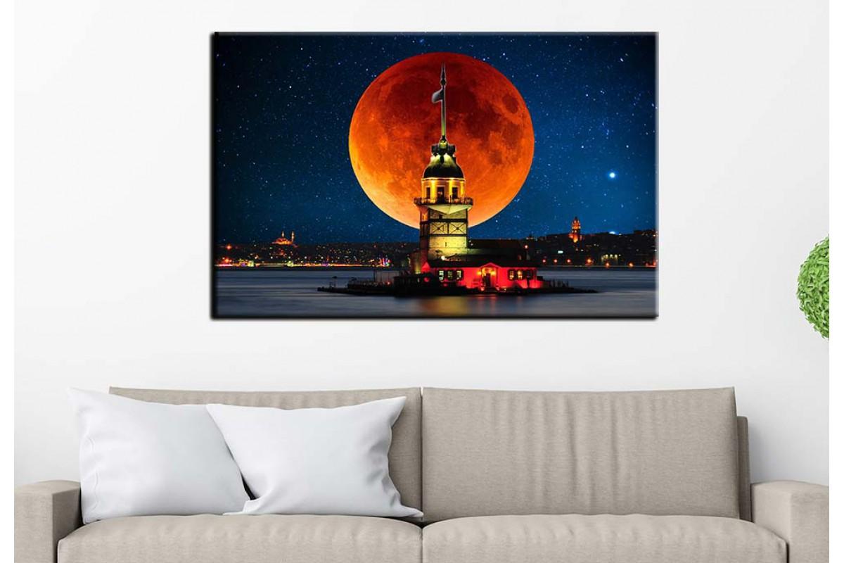 Masal İstanbul Kız Kulesi Masalsı Gece İstanbul Tablosu dkm-75-2B