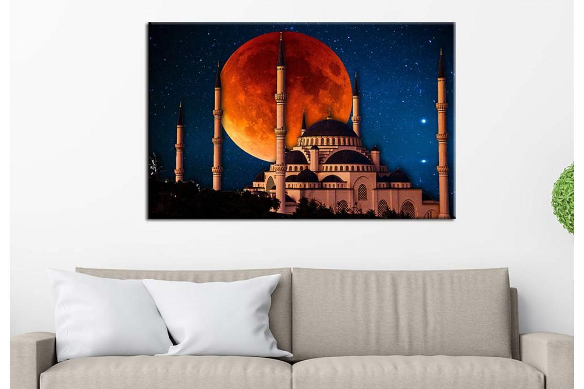Masal İstanbul Sultan Ahmet Camisi Masalsı Gece İstanbul Tablosu dkm-75-3B