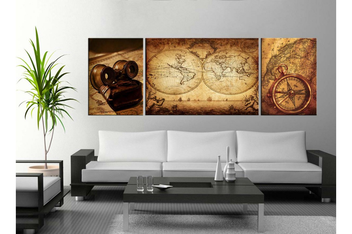 Harita, Pusula ve Dürbün Kanvas Tablo dkm-k1