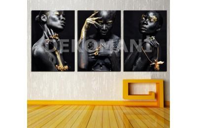 Siyahi Afrikalı Kadınlar Dekoratif Üçlü Kanvas Tablo dkm-k12