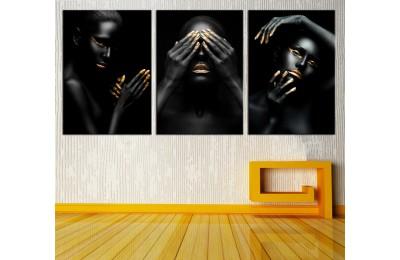 Altın Makyaj Afrikalı Kadın Dekoratif Üçlü Kanvas Tablo dkm-k13