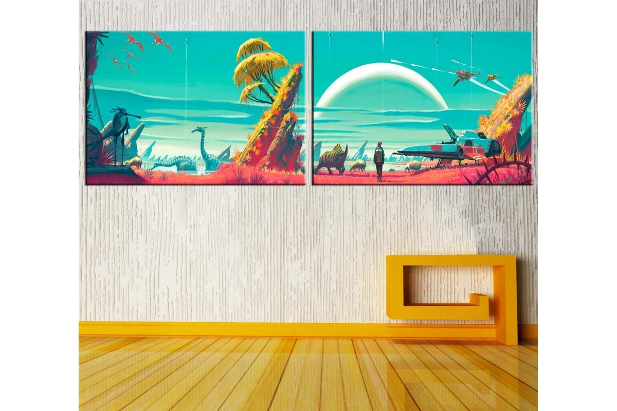 Fantastik Dünya İkili Konsept Kanvas Tablo dkm-k15