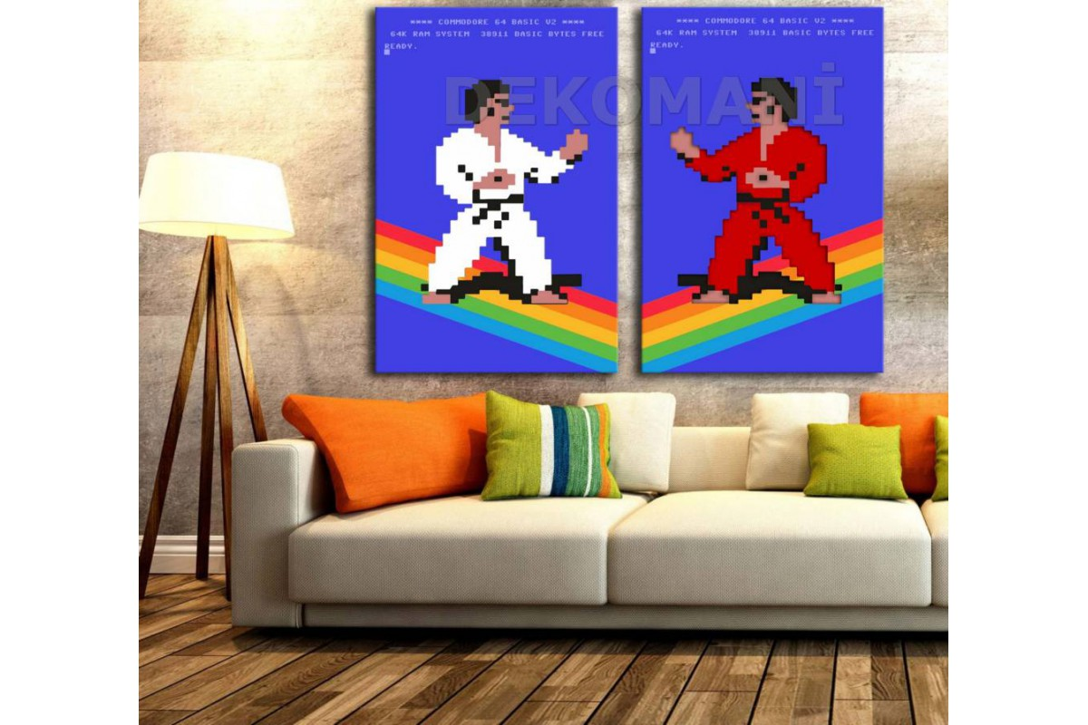 Commodore 64 International Karate İkili Retro Kanvas Tablo dkm-k16