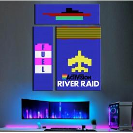 Atari River Raid Üçlü Retro Kanvas Tablo dkm-k19