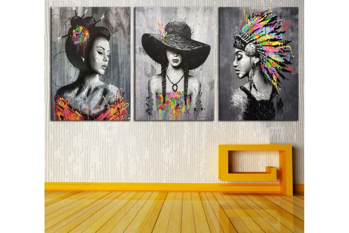 Kızılderili Japon ve Şapkalı Kadın Dekoratif Üçlü Kanvas Tablo dkm-k21