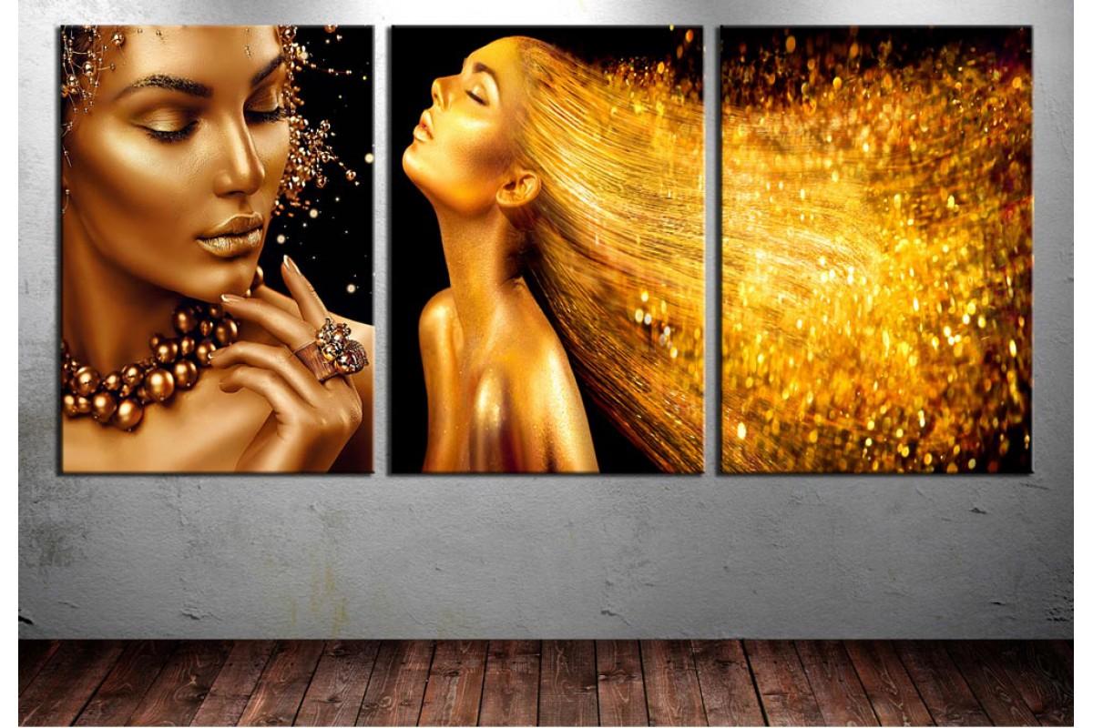 Kuaför Salonu Tablosu Altın Renk Üçlü Tablo dkm-k25