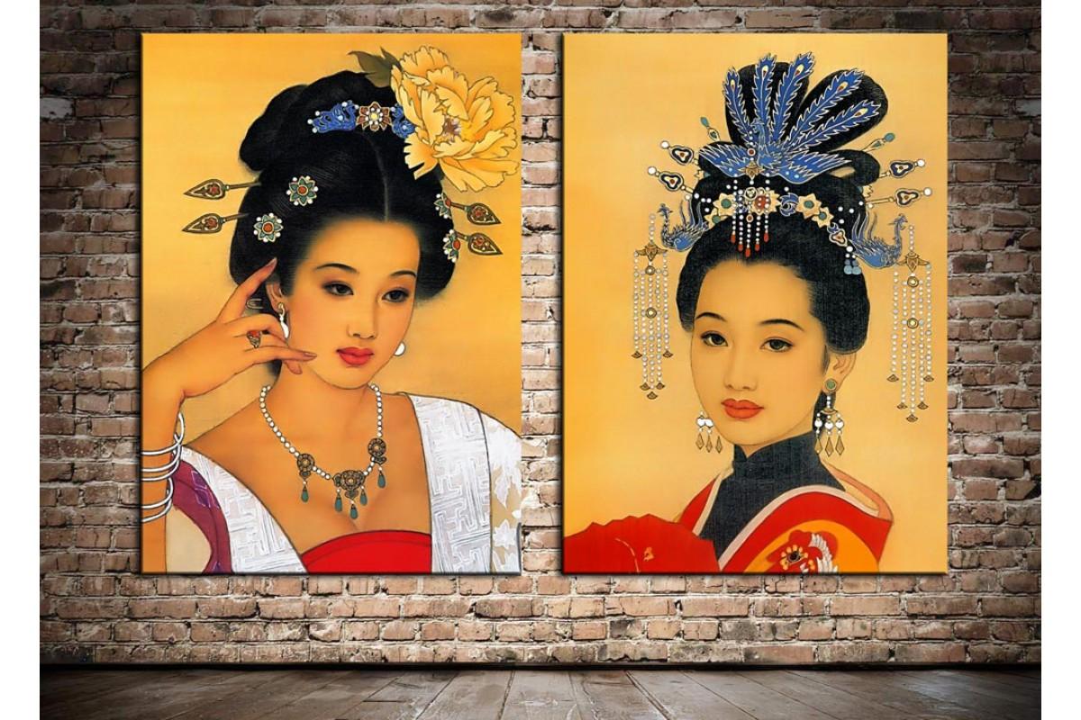 Uzakdoğulu Kadınlar İkili Dekoratif Kanvas Tablo dkm-k26