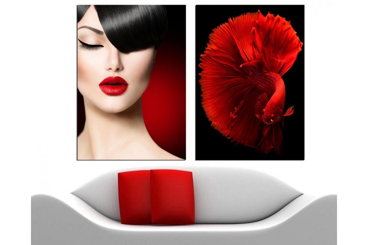 Kadın ve Balık İkili Kırmızı Konsept Kanvas Tablo dkm-k27