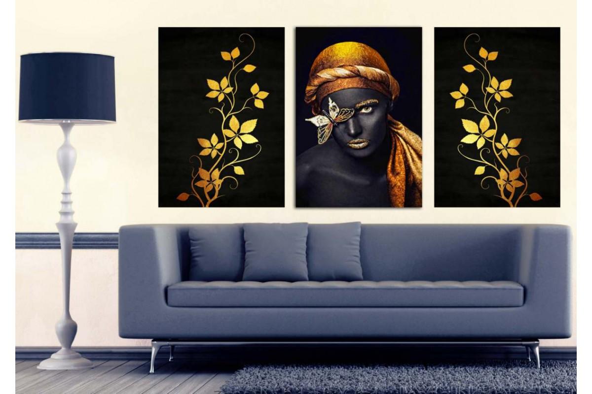 Afrikalı Siyahi Kadın, Kelebek ve Çiçekler Altın Dekoratif Tablo dkm-k2a