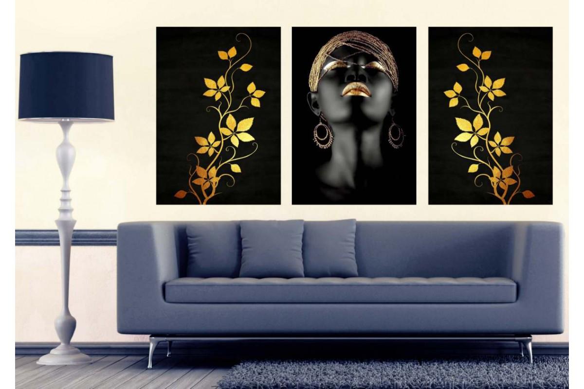 Afrikalı Siyahi Kadın ve Çiçekler Altın Dekoratif Tablo dkm-k2b