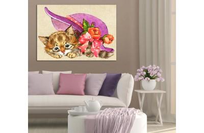 Şapkalı Yavru Kedi Kanvas Tablo dkm-k34-2