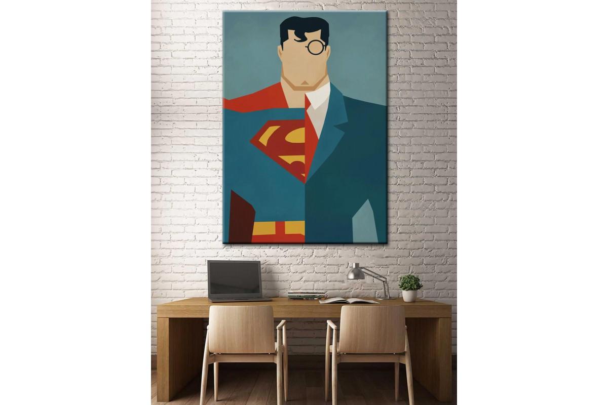 Süper Kahramanlar Serisi Superman Clark Kent Kanvas Tablo dkm-k39-2