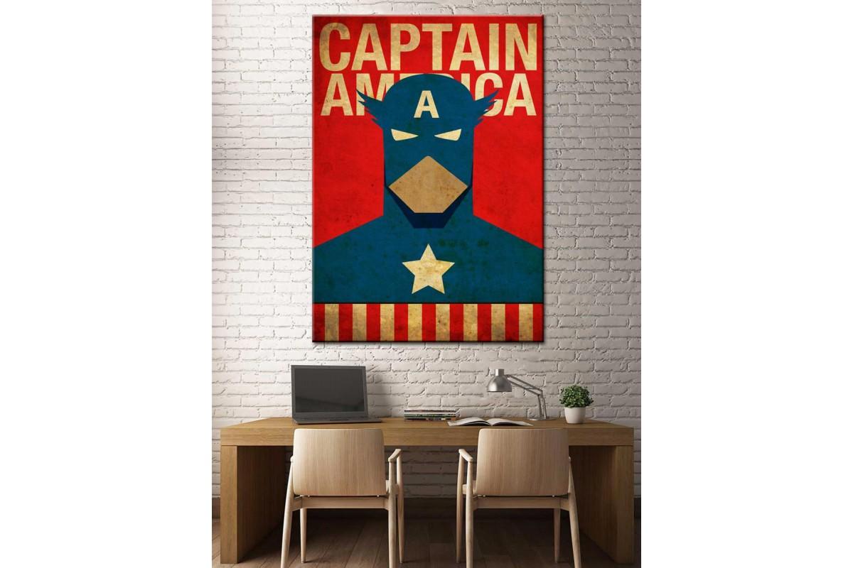 Süper Kahramanlar Serisi Captain America Kanvas Tablo dkm-k39-3