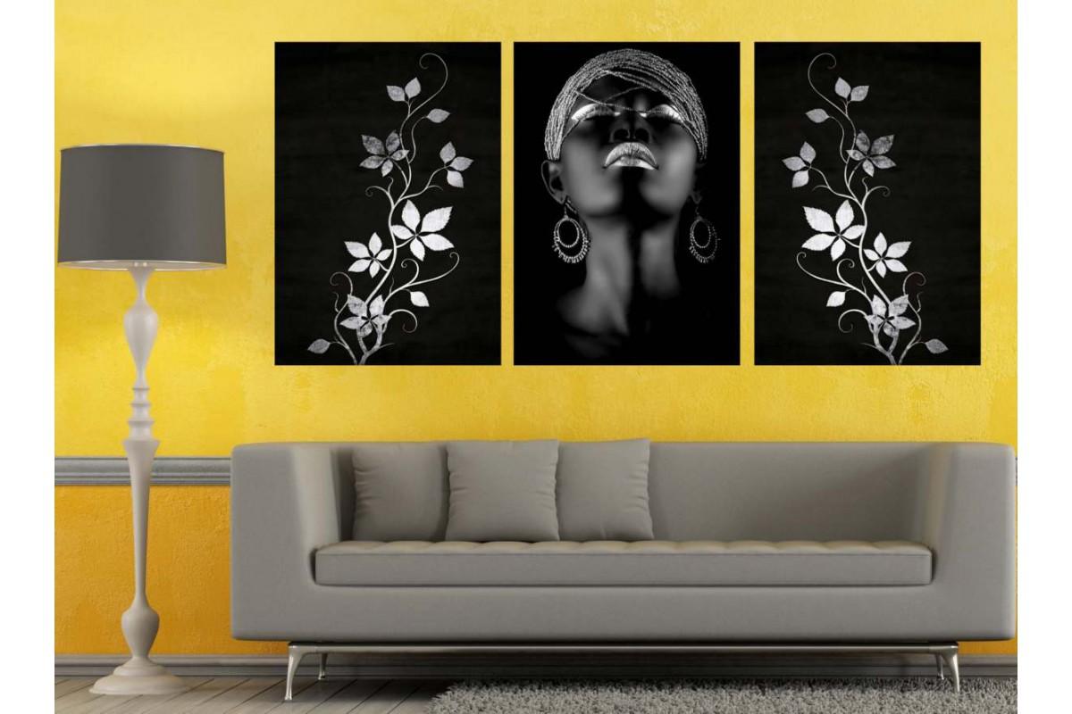 Afrikalı Siyahi Kadın ve Çiçekler Gümüş Dekoratif Tablo dkm-k3a