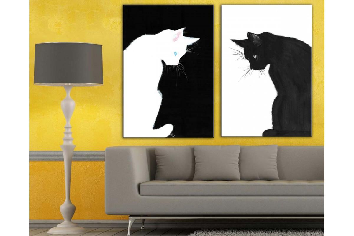 Kara Kedi Beyaz Kedi İkili Kanvas Tablo dkm-k4