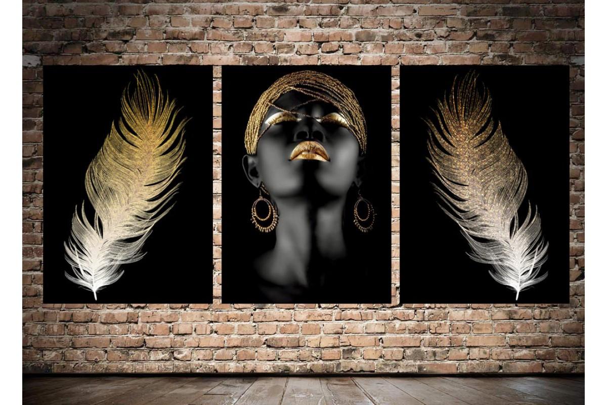 Afrikalı Kadın Altın Renk ve Tüyler Üçlü Konsept Kanvas Tablo dkm-k41-a