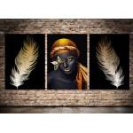 Afrikalı Kadın Kelebek Altın Renk ve Tüyler Üçlü Konsept Kanvas Tablo dkm-k41-b
