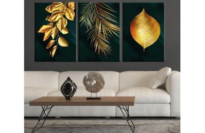 Yapraklar Altın Renk Yeşil Siyah Arkaplan Modern Üçlü Kanvas Tablo dkm-k41b