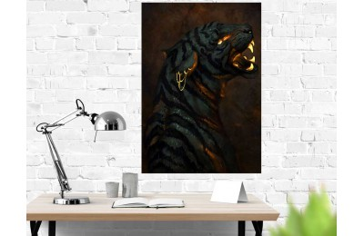 Altın Dövmeli Siyah Kaplan Kanvas Tablo dkm-k42-3