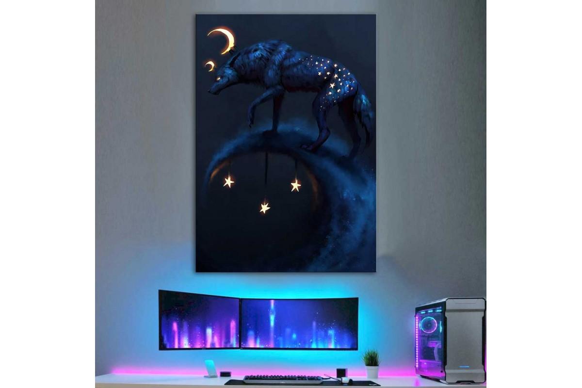Yıldızlı Gece Fantastik Kurt Kanvas Tablo dkm-k42-7