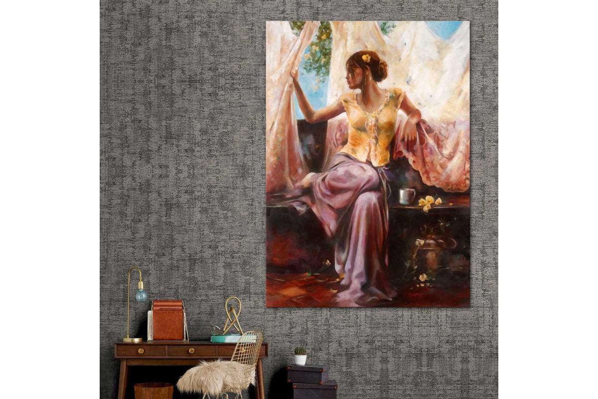 Kadın Yağlı Boya Dekoratif Görünüm Kanvas Tablo dkm-k42-8