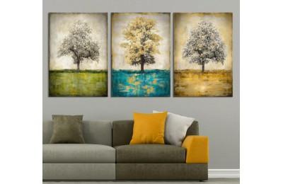 Ağaçlar Yeşil Mavi Sarı Kanvas Tablo dkm-k43-379