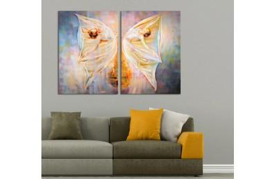 Kelebeklerin Dansı 2 Parça Kanvas Tablo dkm-k44-b1b2