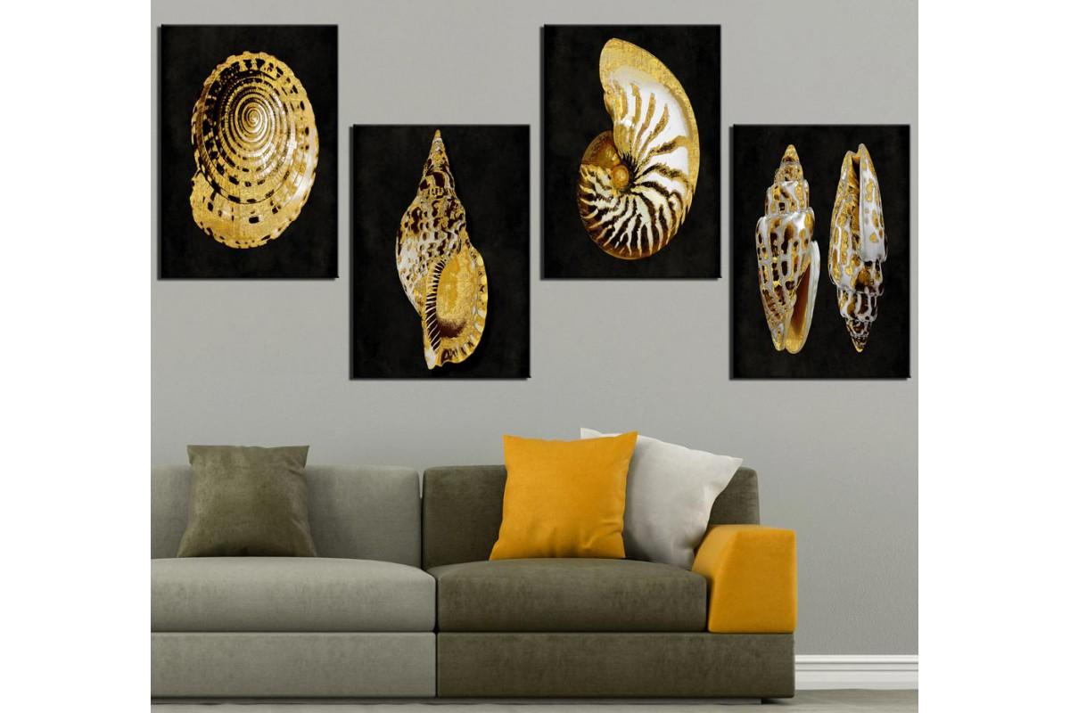 Deniz Kabukluları Siyah Altın Kanvas Tablo dkm-k47-19-20-21-22