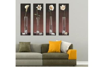 Vazodaki Çiçekler 4 Parça Kanvas Tablo 80x100cm 4pdkm-k48