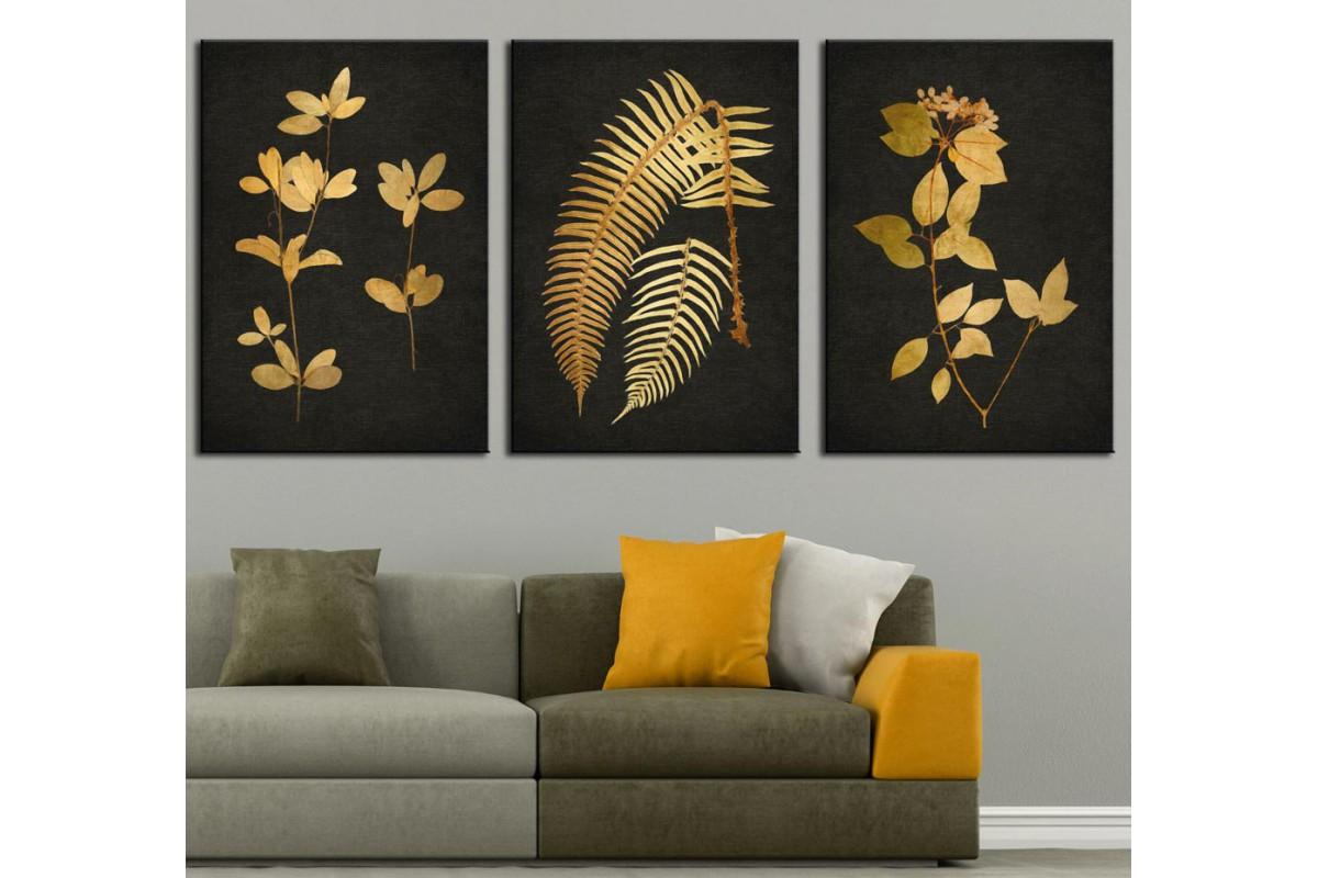 Sarı Yapraklar Pastel Gold Yağlı Boya Görünüm Üçlü Tablo dkm-k49-146