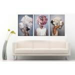 Çiçek ve Kız Postmodern Dekoratif Üçlü Tablo dkm-k5