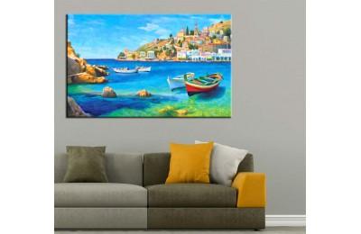 Yağlı Boya Görünüm Sahil Kasabası Sandallar Kanvas Tablo dkm-k52-3