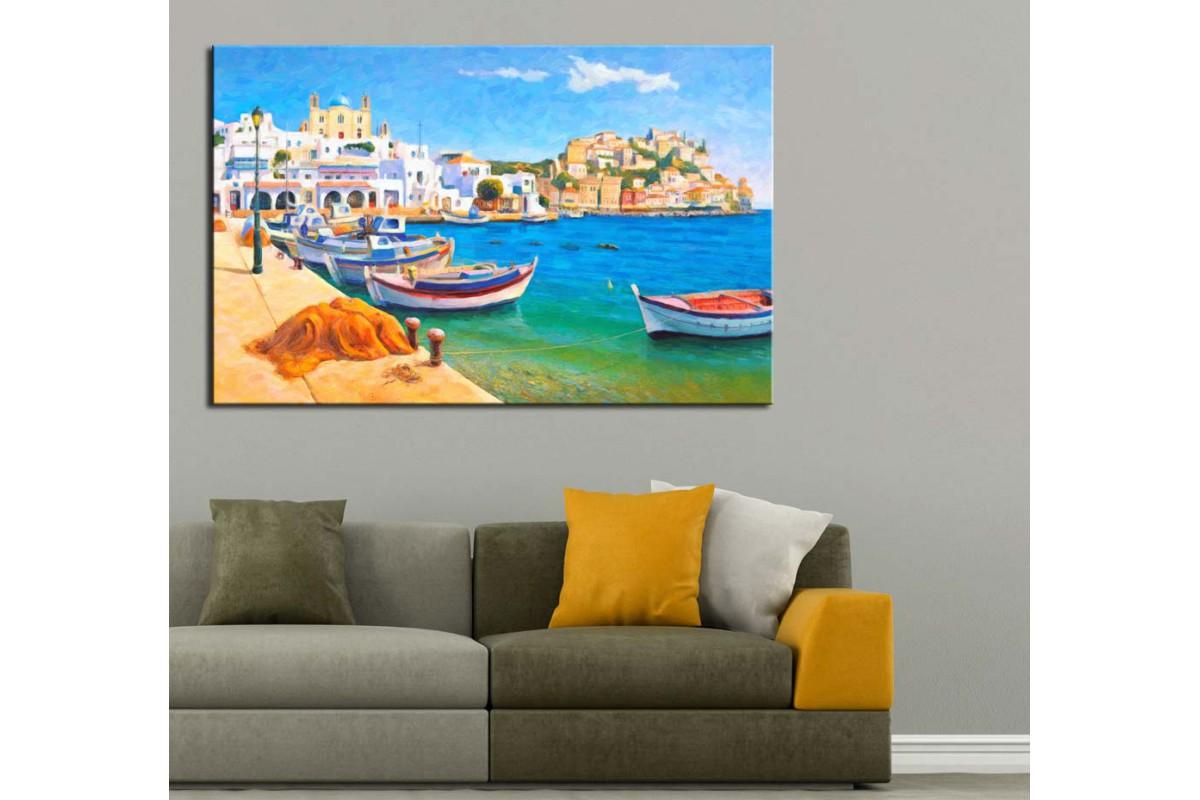 Yağlı Boya Görünüm Sahil Kasabası Sandallar Kanvas Tablo dkm-k52-4