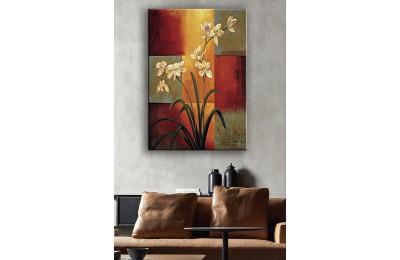 Yağlı Boya Görünüm Beyaz Çiçekler Kanvas Tablo dkm-k54-2