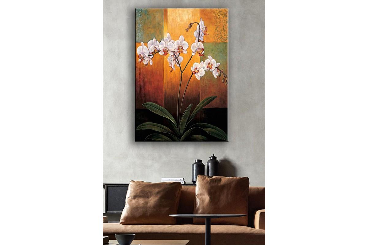 Yağlı Boya Görünüm Beyaz Çiçekler Kanvas Tablo dkm-k54-3