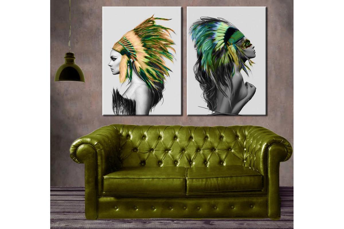 Kızılderili Kadınlar Renkli 2 Parça Kanvas Tablo dkm-k57