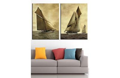 Yelkenli Tekneler 2 Parça Kanvas Tablo dkm-k58d