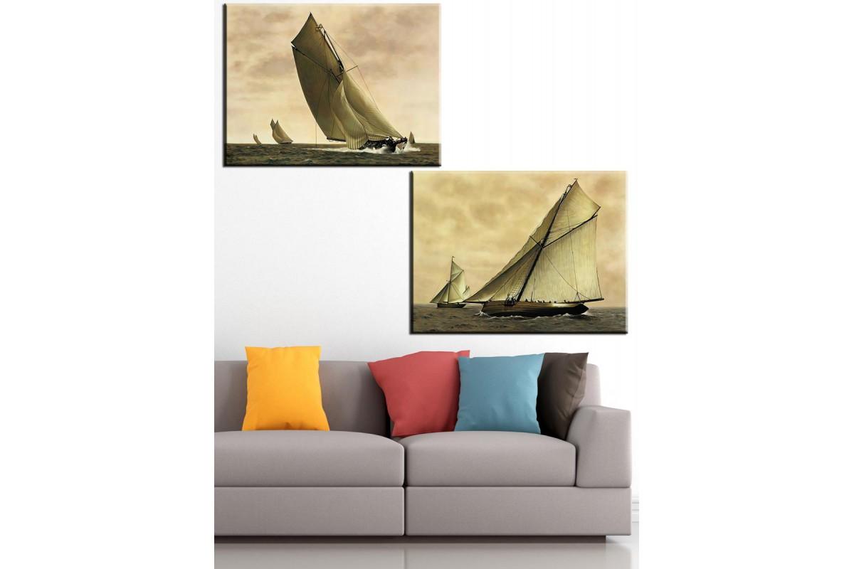 Yelkenli Tekneler 2 Parça Kanvas Tablo dkm-k58y