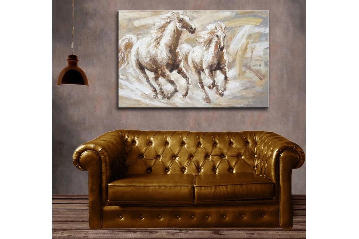 dkm-k59-1 İki Beyaz At Yağlı Boya Görünüm Tablo