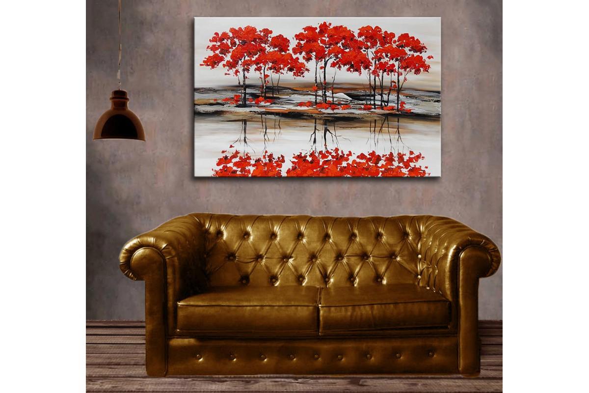 dkm-k59-10 Kırmızı Ağaçlar Yağlı Boya Görünüm Tablo